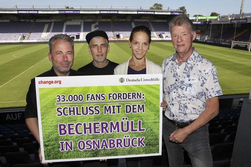 Bechermüll beim VfL Osnabrück: 33.000 Fans und Deutsche Umwelthilfe erwarten nach Petitionsübergabe schnellen Schritt Richtung Mehrweg
